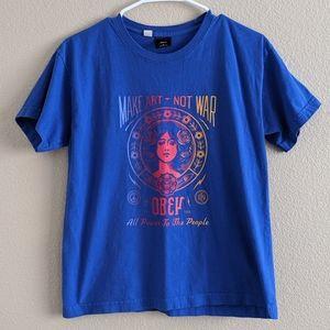 Blue make art not war Obey T-shirt